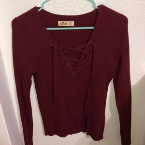 Maroon lace up sweater top